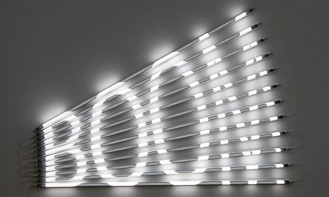 BOOM, 2011 (edition 5/5 + 2 AP) fluorescent lights, acrylic tubes and light filters 33 x 47 inches