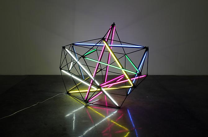 Cubic Zirconia, 2011 (unique) fluorescent tube lights and wire 71 x 59 x 39 inches