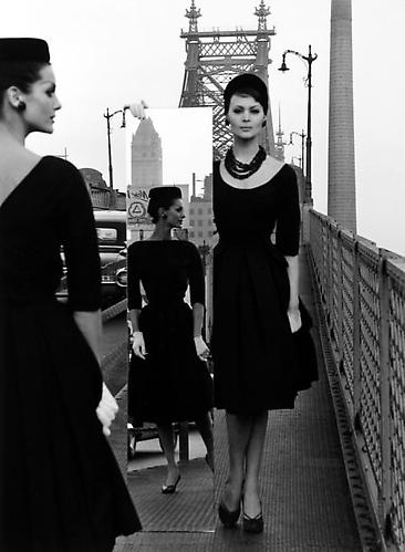 Anne & Isabella, Queensborough Bridge, New York (VOGUE) 1962 Gelatin Silver Print