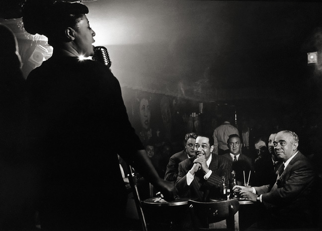 Herman Leonard, Ella Fitzgerald, Stan Hasselgard, Duke Ellington, Benny Goodman and Jack Robbins, Downbeat Club, New York City 1949