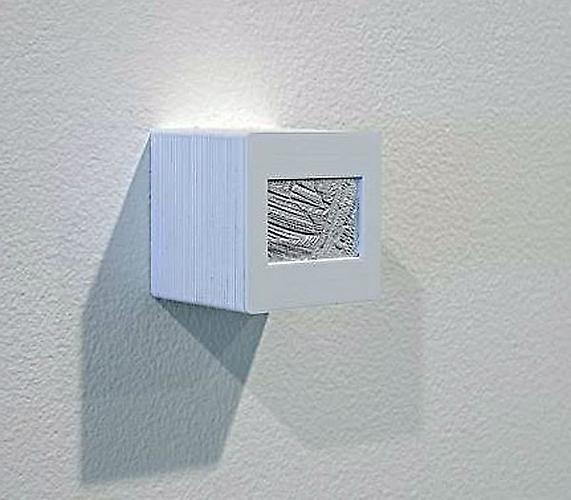 Marco Maggi, Blind Slides, 2009 Pencil on aluminum foil, slide mounts, 21 cubes (each 2 x 2 x 2 inches)