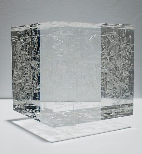 Marco Maggi, Cubic Drop, 2009 Cuts on Plexiglas, wooden shelf, 4 x 4 x 4 inches