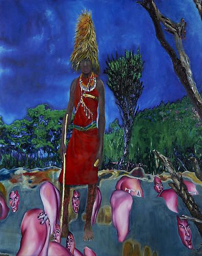 Mie, Maasai Warrior  Min Hyung, 2011 oil on canvas on board  48 x 60 inches