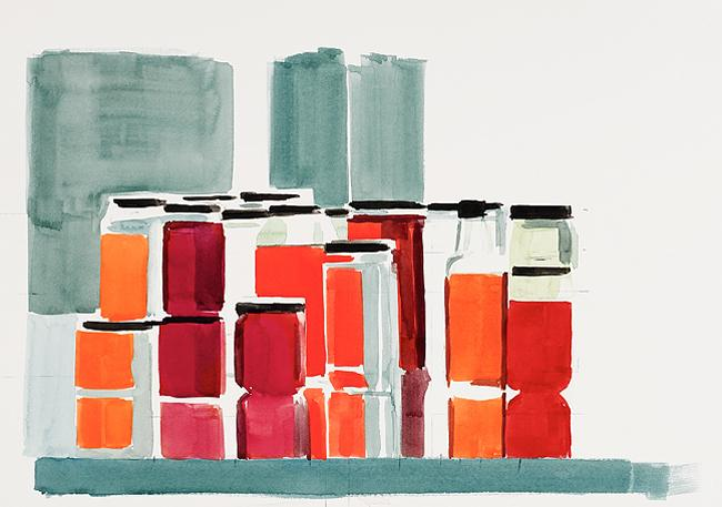 Bottles & Jars #8, 2012 Watercolor on paper 15 x 22 inches