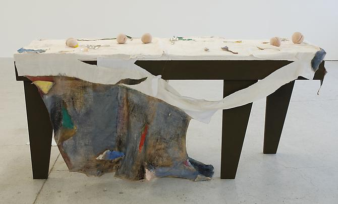 Peaches and Politics 2012  Wood, plaster, clay, gold, 18th and 19th century silver desert spoons, oil paint 58.2 x 206 x 102 cm