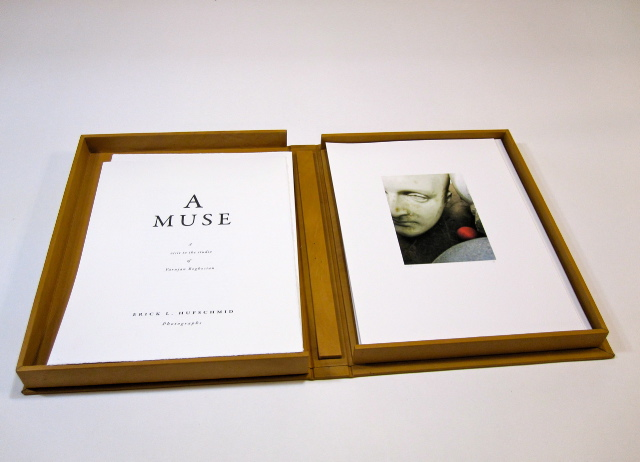 Erick Hufschmid  A Muse - A Visit to the Studio of Varujan Boghosian , 2011 Leather (shown) or cloth clamshell box containing 18 Archival Pigment Prints on Hahnemuhle German Etching 80 lb. paper with accompanying texts. Edition of 18.