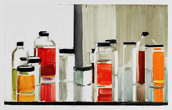Bottles & Jars VI, 2009 monotype 15 x 24 inches