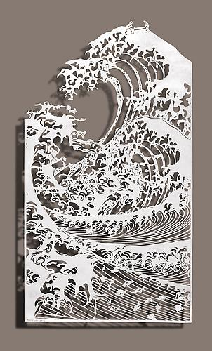 Sawing Waves, 2012 Cut paper, Chinese xuan (rice) paper on silk 10.5x19 inches