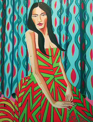 """Mie in Dress"" Ryan Schneider, 2011 Oil On Canvas 52 x 40 inches"