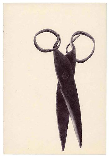Untitled (Scissors) , ballpoint on paper, 8 x 5.55 inches