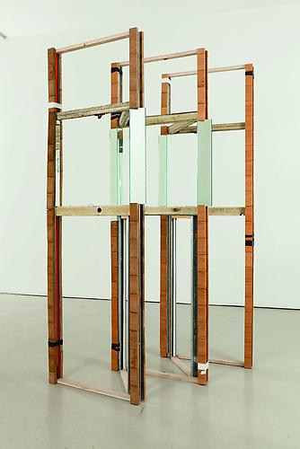 Heather Rowe Untitled (screen #1), 2006 metal studs, wood, tape and glass 82 x 42 x 28 inches