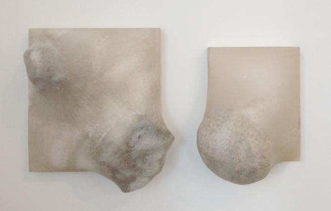 Left:  Stretch Drawing (two rocks sharp) , 2013, rocks, wood, Abaca paper, 10 x 12 x 9 inches. Right:  Stretch Drawing (pink bulge) , 2013, rock, wood, Abaca paper, 7 x 9 x 7 inches