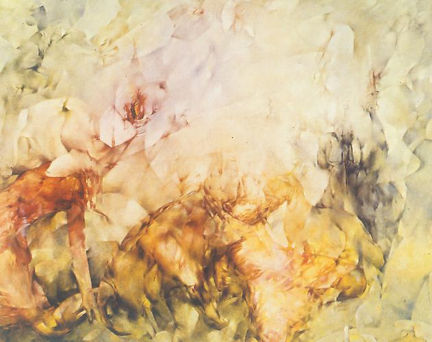 "Midi et demi (Half Past Noon) , 1956–57		 Oil on canvas, 51 1/4 x 63 3/4 in. Signed twice on the verso: ""midi et demi  Dorothea Tanning"" Pennsylvania Academy of Fine Arts, Philadelphia"