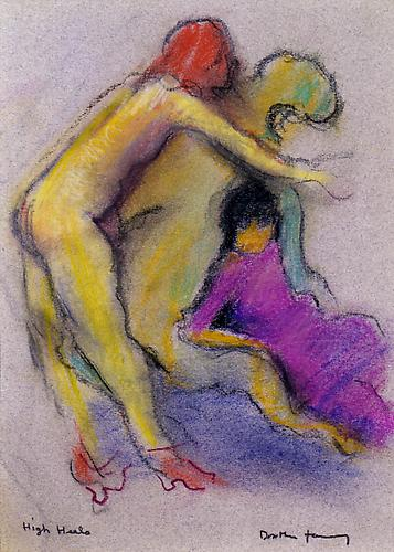 High Heels, 1986  Pastel on paper, 10 x 7 in.  Price upon request