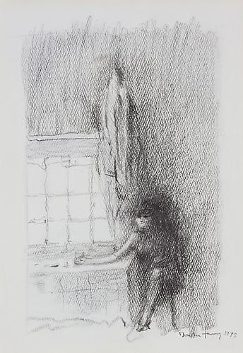 Solitary, 1973  Pencil on paper, 15 1/2 x 14 in.  Price upon request