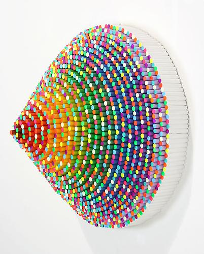 Trinity, 2011 wood dowels, acrylic paint, resin 25 x 25 x 14 inches