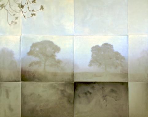 Two Mystics, 2011 encaustic on archival print mounted on wood 48 x 60 inches (diptych)