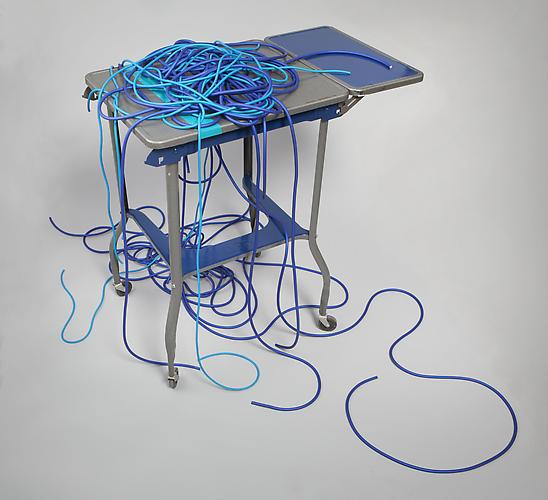Sharon Louden, Community (2013) Enamel on steel with rubber tubing 52h x 42w x30d in (132.08h x 106.68w x 76.2d cm)