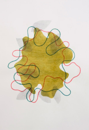 Untitled, 2010, Watercolor, color pencil, graphite on paper, 20 x 14.25 inches
