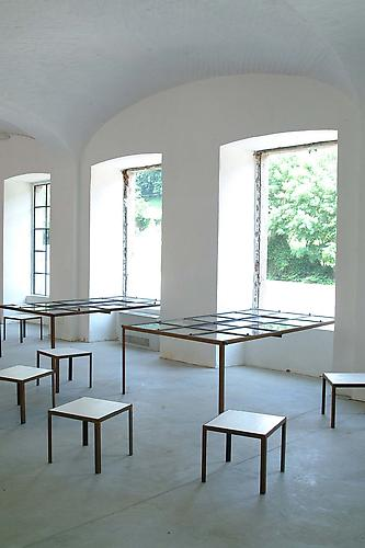 Massimo Bartolini Untitled 2003  70 x 220 x 120 cm  Iron, glass, wood