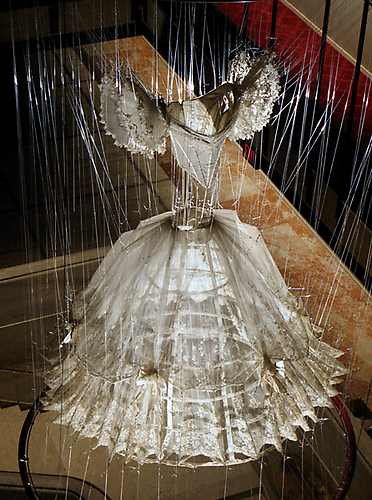 Violetta, 2009 Retired New York City Opera costume Monofilament, stainless steel rings and hardware 6 x 10 x 6 feet