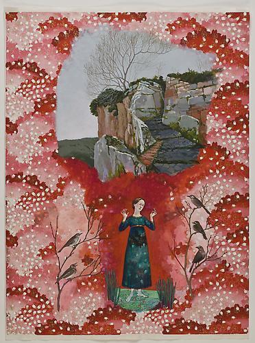 "Anda Dubinskis, 2010  Civita , gouache on printed rice paper 26"" x 19"""