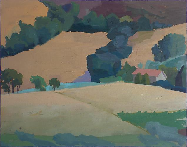 "Celia Reisman, 2012  Field Afternoon , oil on silk panel 8"" x 9.5"""