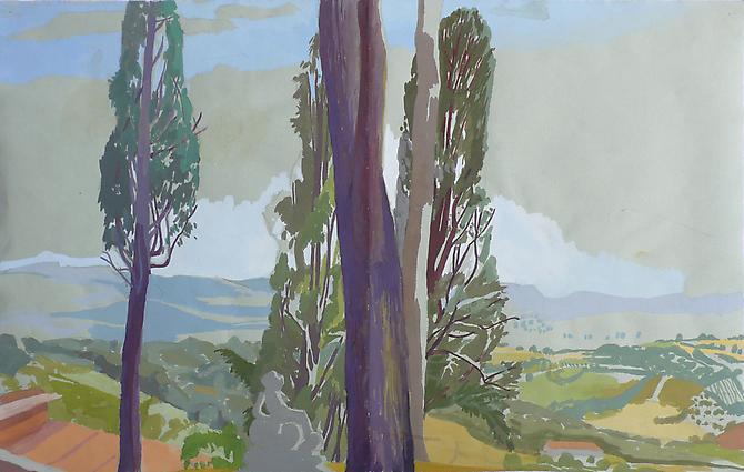 "Celia Reisman, 2012  Italian Garden , gouache on paper 12.5"" x 19.5"""