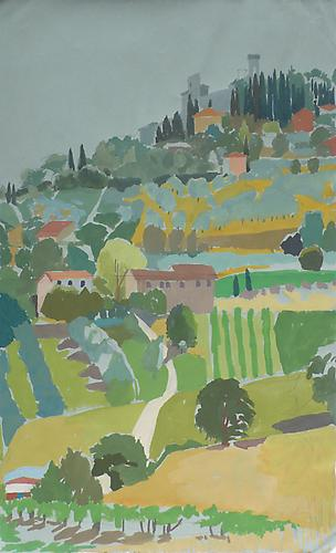 "Celia Reisman, 2012  Montecastello Top , gouache on paper 9.5"" x 12.5"""