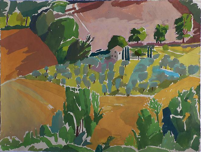 "Celia Reisman, 2012  Olive Grove Evening , gouache on paper 9.5"" x 12.25"""
