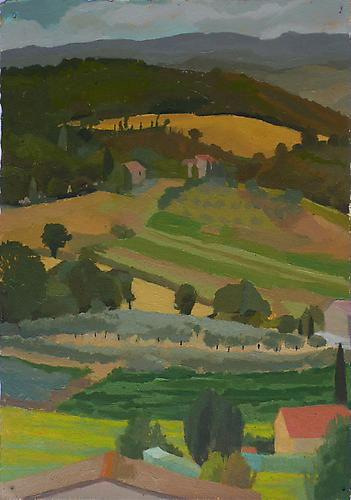 "Celia Reisman, 2012  Olive Grove Triangle , oil on paper 15"" x 11.5"""