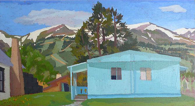 "Celia Reisman, 2011  Colorado Blue , oil on panel 12"" x 22"""