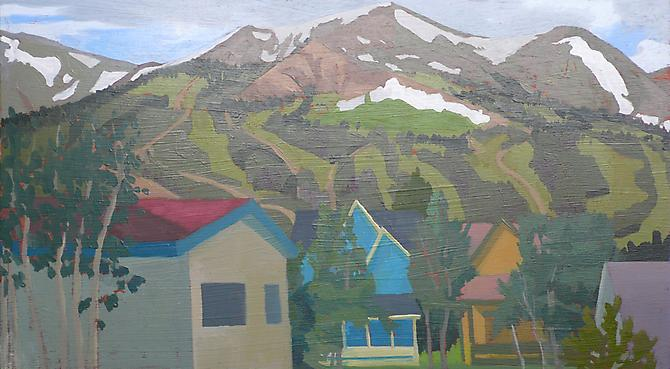 "Celia Reisman, 2011  Colorado Slopes , oil on panel 12"" x 22"""