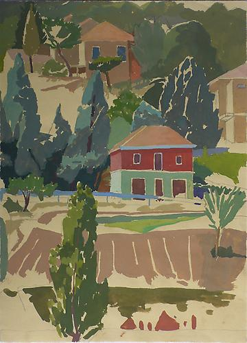 "Celia Reisman, 2012  Red and Green House , gouache on paper 9.5"" x 12.25"""