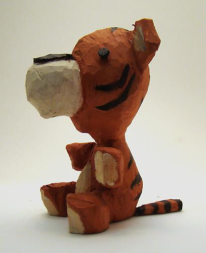 Andrew Smenos  Tiger , 2012 Basswood 4 x 3 x 3 inches