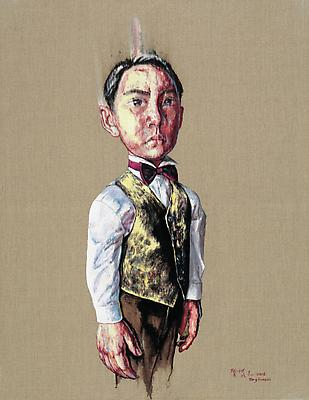 "Zeng Fanzhi, ""Portrait 08-12-1""  2008 Oil on canvas 43 3/4 x 31 3/4 inches (111 x 80.6 cm) Image"