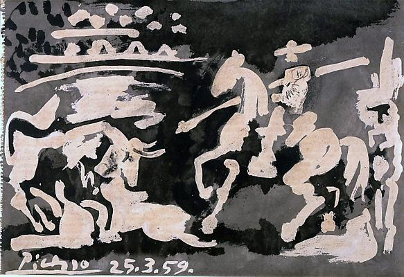 "Pablo Picasso, ""Scene de Tauromachie,"" 1959 Enamel color on washdrawing on paper, 14 5/8 x 21 1/4 inches"