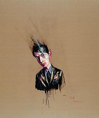 """Zeng Fanzhi, """"Portrait 07-8-4""""  2007 Oil on canvas 74 5/8 x 62 7/8 inches (189.6 x 159.7 cm) Image"""