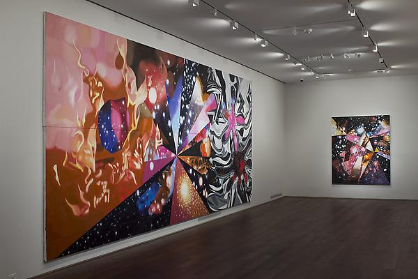 "Installation of James Rosenquist, ""Multiverse You Are, I Am"" exhibition at Acquavella Galleries, September 10 - October 13, 2012. Left to right: ""Geometry of Fire"", ""Sand of the Cosmic Desert in Every Direction"" Image"