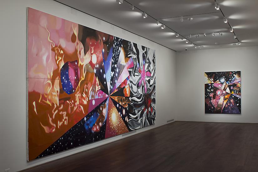 "Installation of James Rosenquist, ""Multiverse You Are, I Am"" exhibition at Acquavella Galleries, September 10 - October 13, 2012. Left to right: ""Geometry of Fire"", ""Sand of the Cosmic Desert in Every Direction"""