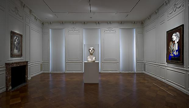 "From left to right: ""Sculpture of a Head: Marie-Thérèse,"" Fondation Beyeler, Riehen/Basel; ""Bust of a Woman;"" ""Still Life with Tulips,"" Private Collection Image"