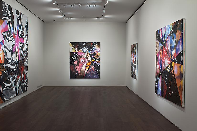 "Installation of James Rosenquist, ""Multiverse You Are, I Am"" exhibition at Acquavella Galleries, September 10 - October 13, 2012. Left to right: ""Geometry of Fire"", ""Sand of the Cosmic Desert in Every Direction"", ""Parallel Worlds"", ""Super Mega Universes"""