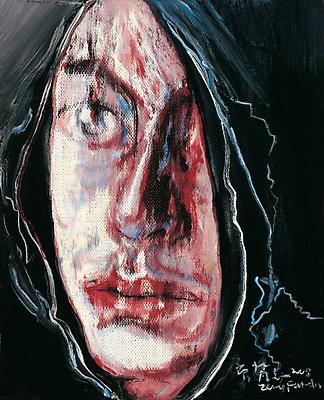 """Zeng Fanzhi, """"Portrait 08-7-7""""  2008 Oil on canvas 12 1/4 x 10 inches (31 x 25.5 cm) Image"""