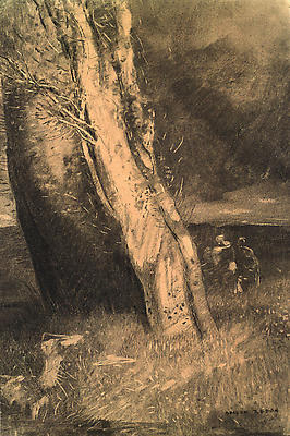 "Odilon Redon, ""Trees Under a Stormy Sky,"" c. 1880 Charcoal on paper, 16 x 10 5/8 inches"