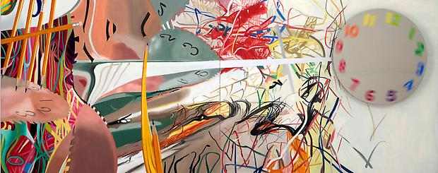 "James Rosenquist, ""Time Stops the Face Continues,"" 2008 Oil on canvas with motorized painted mirror (spinning) 60 x 150 x 6 1/2 inches Image"