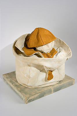 "Claes Oldenburg, ""Soft Juicit - 'Ghost' Version,"" 1965 Canvas filled with kapok, burlap painted with Liquitx on wood base covered with canvas, 19 x 18 x 16 inches"
