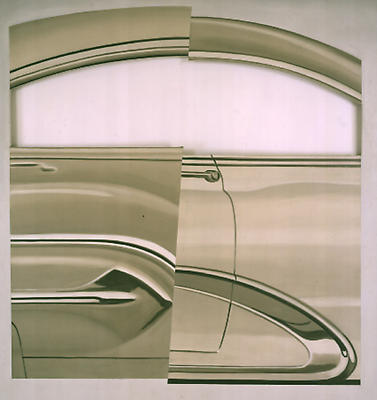 "James Rosenquist, ""Air Hammer,"" 1962 Oil on fenestrated canvas, 78 x 64 3/4 inches Private Collection Image"