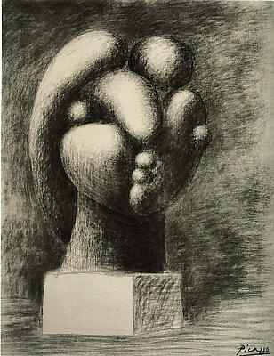 "Pablo Picasso, ""Sculpture of a Head: Marie-Thérèse,"" 1932 Charcoal on canvas, 36 1/4 x 28 3/4 inches Fondation Beyeler, Riehen/Basel Image"