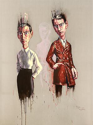 """Zeng Fanzhi, """"Portrait 08-7-1"""" 2008 Oil on canvas 98 3/8 x 66 7/8 inches (250 x 170 cm) Image"""