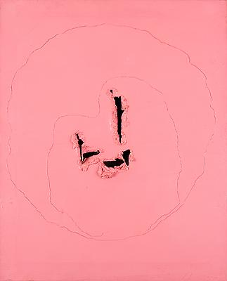 "Lucio Fontana, ""Concetto Spaziale"" 1962, Oil (rosa) on canvas with lacerations 36 1/4 x 28 3/4 inches Image"